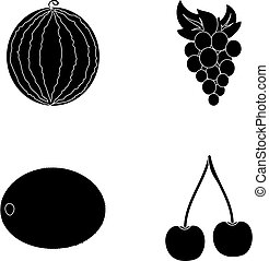 Watermelon, grapes, cherry, kiwi.Fruits set collection icons in black style vector symbol stock illustration web.