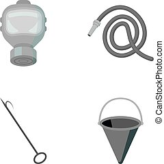 Gas mask, hose, bucket, bagore. Fire department set collection icons in monochrome style vector symbol stock illustration web.