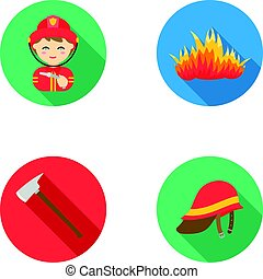 Ax, helmet, fireman, flame. Fire department set collection icons in flat style vector symbol stock illustration web.