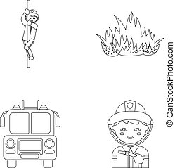 Fireman, flame, fire truck. Fire departmentset set collection icons in outline style vector symbol stock illustration web.