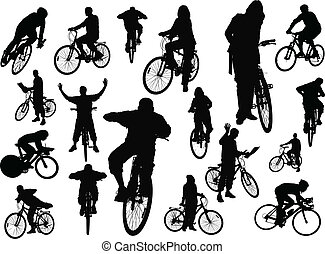 Eighteen people silhouettes with bicycle. Vector...