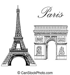 Vector Eiffel Tower and Triumphal Arch - Eiffel tower and...