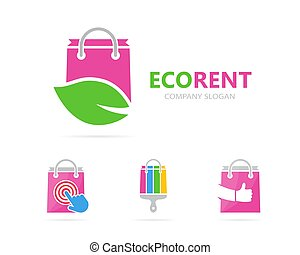 Vector of shop and leaf logo combination. Sale and eco...
