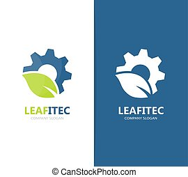 Vector of gear and leaf logo combination. Mechanic and eco...