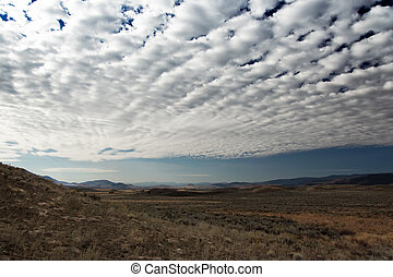 Landscape in Montana with clouded sky