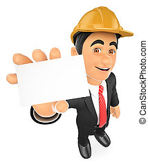 3D Architect with a blank card