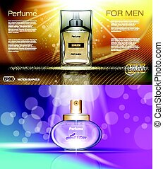 Digital vector brown yellow and purple glass perfume for men...