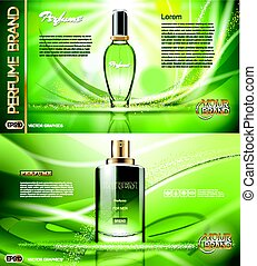 Digital vector green glass perfume for men and women...