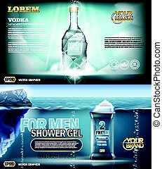 Digital vector aqua silver vodka bottle mockup - Digital...