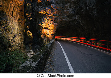 Strada della Forra Scenic road at caves leading from...