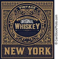 Whiskey label with baroque ornaments