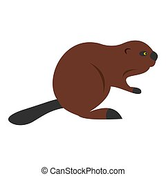 North American beaver icon isolated - North American beaver...
