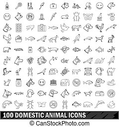 100 domestic animal icons set, outline style - 100 domestic...
