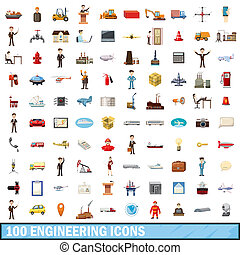 100 engineering icons set, cartoon style