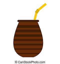 Chimarrao for mate or terere icon isolated - Chimarrao for...