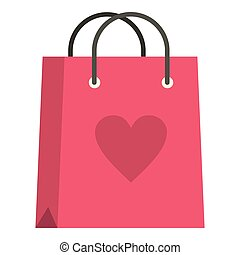 Pink shopping bag with heart icon isolated