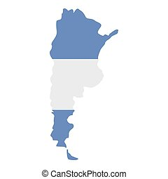 Map of Argentina in Argentinian flag colors icon flat...