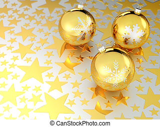 Golden Christmas balls with stars in background