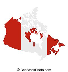 Map of Canada in national flag colors icon