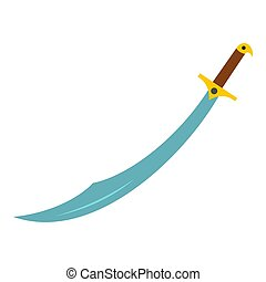 Arabian scimitar sword icon isolated - Arabian scimitar...