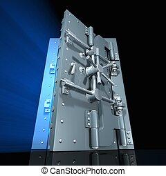 Rendered open vault door with blue light inside (wide angle)...