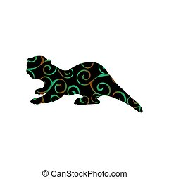 Otter mammal color silhouette animal. Vector Illustrator.