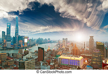 Aerial photography at Shanghai bund Skyline of sunset