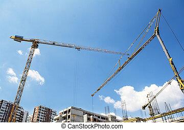 Construction Crane - Big Yellow Construction Crane and blue...