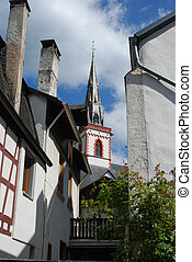 old historic church spire and houses in Ediger Germany