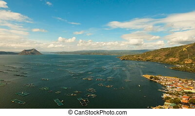 Fish farming in lake Taal. Luzon, Philippines. - Fish Farm...