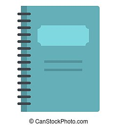 Blue closed spiral notebook icon isolated - Blue closed...