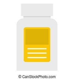 Pharmaceuticals bottle icon isolated