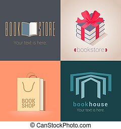 Collection of bookstore, bookshop vector emblems, logo....