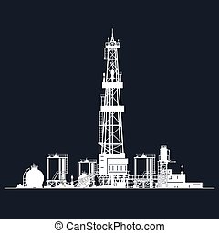 White Silhouette Drilling Rig on Black Background , Oil Rig...