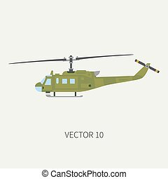 Plain flat color vector icon military turboprop transportation helicopter. Army equipment and armament. Retro copter. Cartoon. Assault soldiers. War. Illustration, element for your design, wallpaper.
