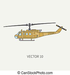Line flat color vector icon military turboprop transportation helicopter. Army equipment and armament. Retro copter. Cartoon. Assault soldiers. War. Illustration and element for your design, wallpaper