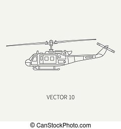 Line flat vector icon military turboprop transportation helicopter. Army equipment and armament. Retro copter. Cartoon. Assault. Soldiers. War. Illustration and element for your design and wallpaper.