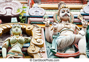 Hindu gods - Sculptures of Hindu gods on a temple in...