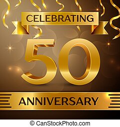 Fifty Years Anniversary Celebration Design. Confetti and gold ribbon on golden background. Colorful Vector template elements for your birthday party. Anniversary ribbon