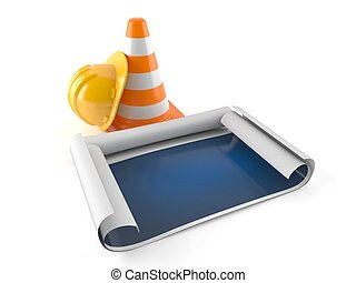 Blueprint with traffic cone and hardhat