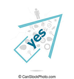 Text Yes. Education concept . Data protection and secure elements inforgaphic set