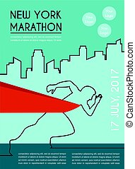 number one winner at a finish line. poster design template