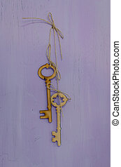 Old keys hanging on a wall