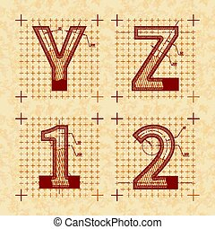 Medieval inventor sketches of Y Z 1 2 letters. Retro style font on old textured paper