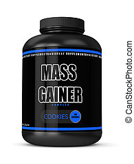 3d render of mass gainer bottle isolated over white...