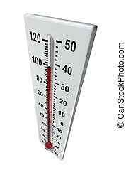 Rendered thermometer in hot environment - 3D illustration