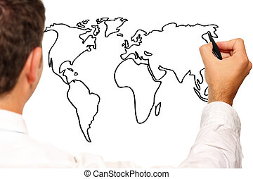 Young businessman drawing a world map