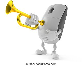 Computer mouse character playing the trumpet