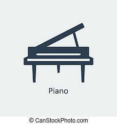 Piano icon. Silhouette vector icon - Piano icon. Musical...