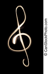 Music - A Musical G-clef drawn with a flashlight